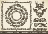 Set of antique frames and design elements — Stock Vector