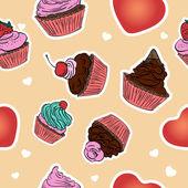 Sömlös cupcake mönster. hand dras bakgrund. — Stockvektor