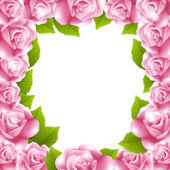 Frame made of pink roses with text frame — Stock Vector