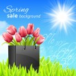 Sprin sale background with tulips — Stock Vector
