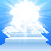 Stairway leading to heaven with clouds in sky — Stock Vector