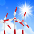 Royalty-Free Stock Vector Image: Wind driven generators, turbines over blue sky