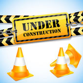 Under construction page with traffic cones. — Stock Vector