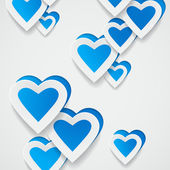 Paper blue hearts background — Stock Vector