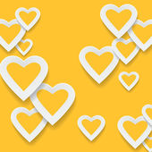 Paper yellow hearts background — Stock Vector