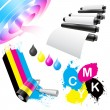 CMYK coloring icon set — Stock Vector
