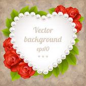 Marco corazón de perlas — Vector de stock