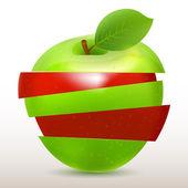 Plátky červené a zelené jablko izolovaných na bílém — Stock vektor