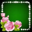 Pink rose and pearls frame — Vector de stock