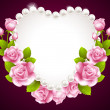 Hqert pink rose and pearls frame — Stock Vector #29320191