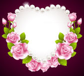 Hqert pink rose and pearls frame — Stock Vector