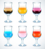 Collection of alcohol coctails icon — Stock Vector