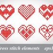 Stok Vektör: Vector cross stitch embroidery design elements