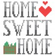 Home sweet home embroidery — Stock Vector