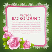 Vintage background with roses and lace — Stock Vector