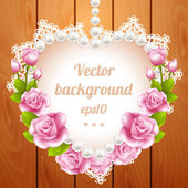 Pink rose and pearls frame on wood background — Stock vektor