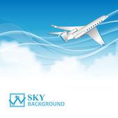 Fondo de viajes con avión y nubes blancas — Vector de stock