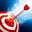 Love darts. Heart target — Stock Vector
