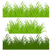 Set of fresh green grass seamless — Stock Vector