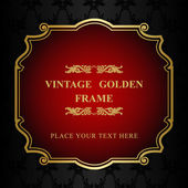 Royal gold Picture frame on the dark wallpaper — Stock Vector
