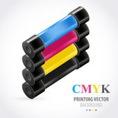 Cmyk print colored roll — Stock Vector