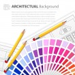 House plan drawing, color guide and pensils — Stock Vector