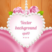 Pink rose and pearls frame on wood background — Stock Vector