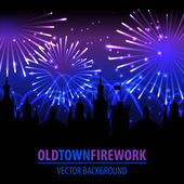 Fireworks lighting up the sky behind town houses. — Stock Vector