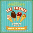 Vintage Ice Cream Poster. — Vector de stock