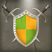 A set of double-edged swords medieval shield — Stock Vector