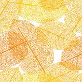 Leaf skeletons orange seamless vector background — 图库矢量图片