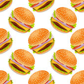 Seamless background with cartoon style hamburgers — Stock Vector