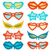 Flat set of vector sunglasses — Vector de stock