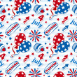 4th july stickers seamless background — Stock Vector #48839567