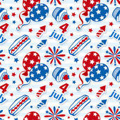 4th july stickers seamless background — Stock Vector