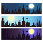 Ctyscape backgrounds. Vector banners — Stock Vector