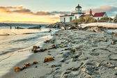 Sun set at West Point Lighthouse at Seattle Washington — Stock Photo