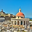 San Juan Cemetery with El Morro Fortress - Stock Photo