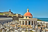 San Juan Cemetery with El Morro Fortress — Stock Photo