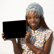 African Woman Holding a Blank black Sign — Stock Photo