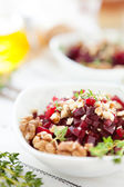 Beet salad and walnut with cream — Stock Photo