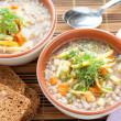 Royalty-Free Stock Photo: Buckwheat soup with celery and parsnips