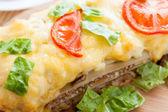 Vegetable lasagna with tomato — Stock Photo