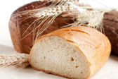 Different types of bread and wheat spikelets — Stock Photo