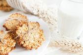 Ruddy galletas con hojuelas de trigo y vaso de leche — Foto de Stock
