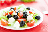 Delicious salad with mozzarella and tomatoes — Stock Photo