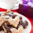 Sweet cookies for with coconut and chocolate Valentine's Day — Stock Photo