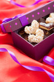 Valentine cookies in beautiful box — Stock Photo