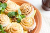 Homemade sugar scones with milk — Stock Photo