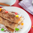 Stock Photo: Pancakes with pineapple filling and grated chocolate